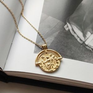 925 sterling silver coin gold  Roman necklace